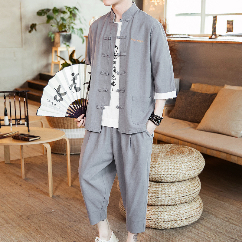 Summer Flax Set 2019 Large Size Chinese-style Pankou Half Sleeve Cardigan Chinese Clothing Cuff Mixed Colors Retro Men'S Wear