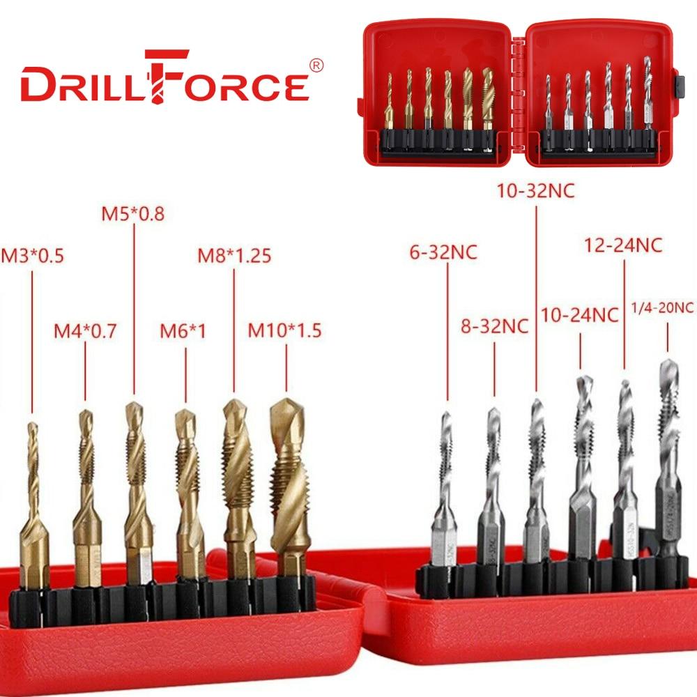 12PCS M3-M10 Hex Shank Titanium Plated HSS Screw Thread Metric & Inch Tap Drill Bits Set+Box High Speed Steel M3 M4 M5 M6 M8 M10