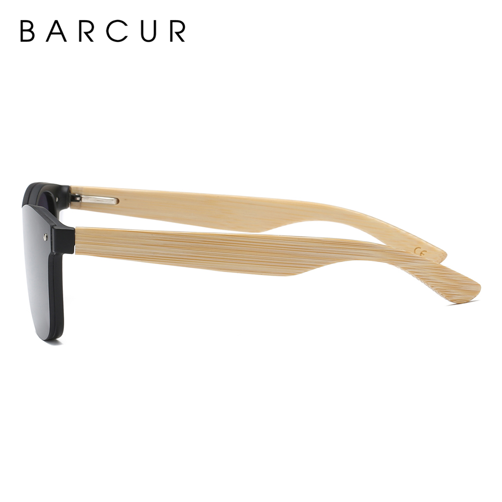 BARCUR Sunglasses Men Bamboo Sun glasses Wood Temples Vintage Eyewear for Women Men Accessories