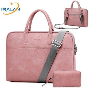 Image 1 - Матовая водонепроницаемая сумка из искусственной кожи для ноутбука 14, 15,6, 17,3, сумка для Macbook Air 13, сумка Pro 13,3, 15, чехол, Деловые женские и мужские сумки через плечо