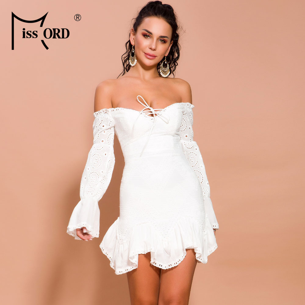 Missord 2019 Women Sexy Lace Off Shoulder Lantern Sleeve Dresses Female Elegant Holiday Mini Dress FT19520 in Dresses from Women 39 s Clothing