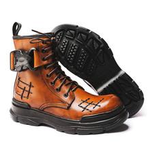 2020 ciepłe buty motocyklowe dla mężczyzn Punk Style buty wojskowe Vintage buty zimowe X #20 10D50 cheap DnLn CN (pochodzenie) Prawdziwej skóry Skóra bydlęca ANKLE Stałe Dla dorosłych Cotton Fabric Okrągły nosek RUBBER