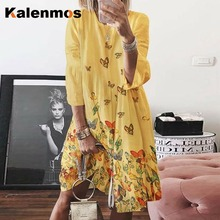 KALENMOS Vintage Dress Women 2020 Summer O-neck Floral Elega