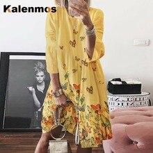 KALENMOS Vintage Dress Women 2020 Summer O-neck Floral Elega