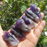 Amethyst Natural Stone Garden Decor Mineral Quartz Crystal Point Mineral Specimen Stone For Fish Tank Garden Walkway Decoration|Decorative Pebbles| |  -