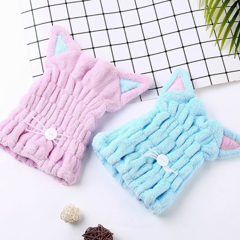 Cute Cat Microfiber Hair-drying Towel Bath Cap Strong Absorbing Drying Long Soft Special Dry Hair Cap Towel With Coral Velvet