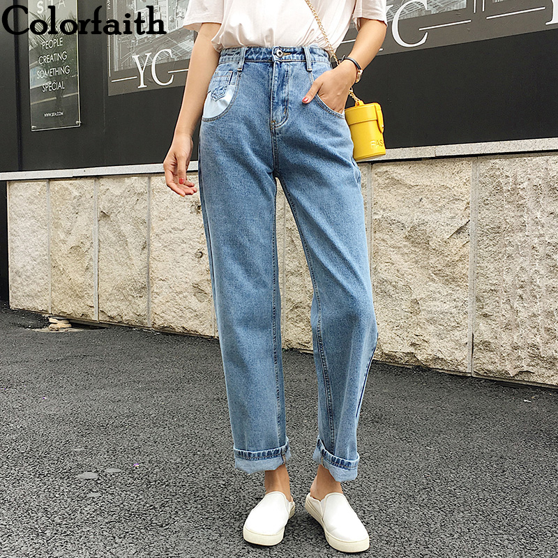 Colorfaith 2019 Women Jeans Denim Casual Vintage Korean Style Blue High Waist Pants For Ladies Grils Ankle Length Jeans J0956