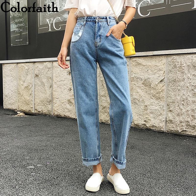 Colorfaith 2019 Women Jeans Denim Casual Vintage Korean Style Blue High Waist Pants For Ladies Grils Ankle Length Jeans J0956