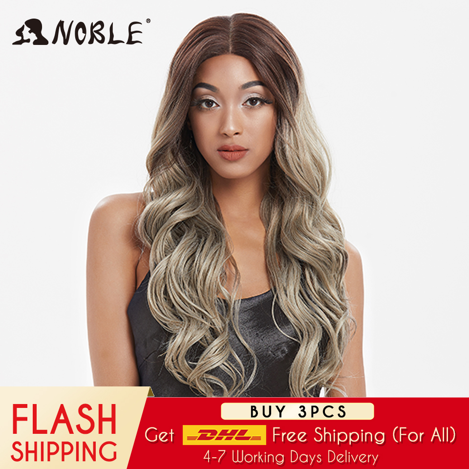 Noble Synthetic Lace Front Wig  Ombre Blonde Wig 30 Inch Long Wavy Lace Front Wig  Synthetic Wigs For Black Women Maycaur Wig