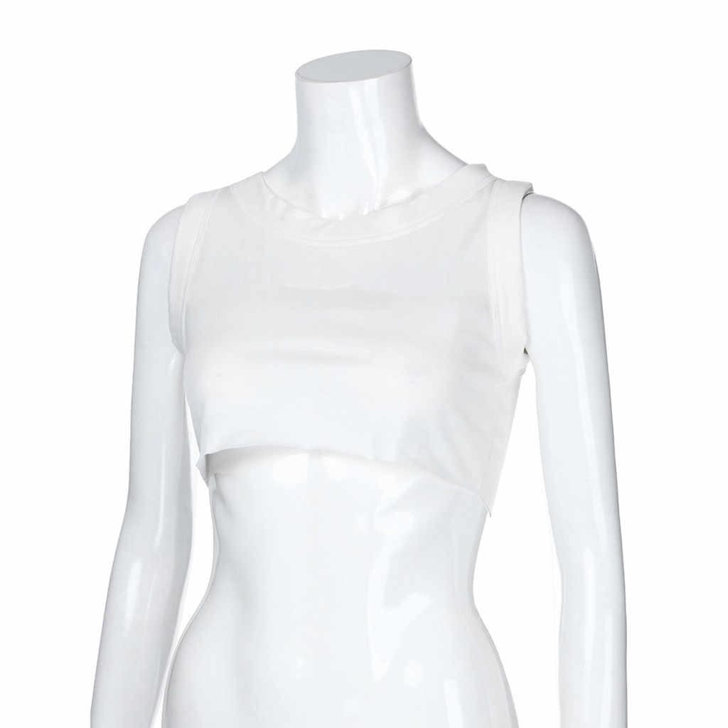 เสื้อเซ็กซี่เซ็กซี่สำหรับสตรีฟิตเนสสีขาว Crop TOP bustier เสื้อ tement Femme ผู้หญิง Crop TOP Femme 2019 ใหม่