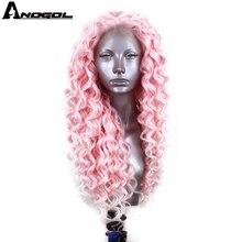 Anogol Розовый Синтетический кружевной передний парик с свободной