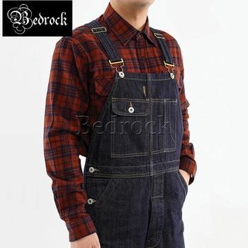 Bedrock 14oz high quality vintage denim overalls heavy raw denim jeans washed blue Ami khaki dungaree suspenders for men 7293 1