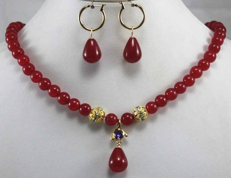 Darmowa wysyłka>> @> hurtownie szybka wysyłka>>>> nowy projekt 8mm czerwony Jade Hook kolczyk naszyjnik wisiorek zestaw biżuterii naturalne jewe