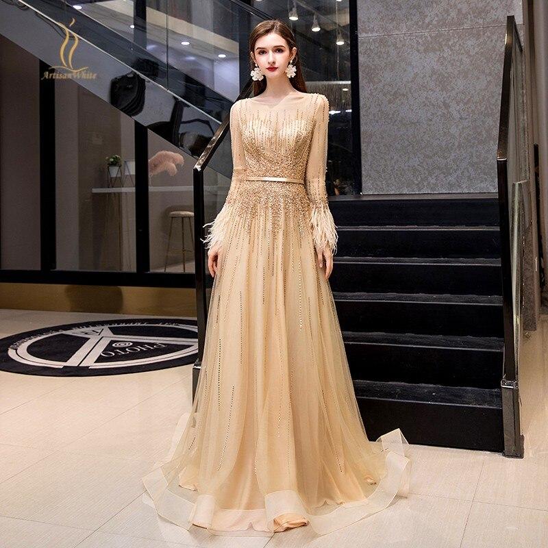 Золотые вечерние платья с длинными рукавами с перьями, сексуальные прозрачные вечерние платья с бисером и блестками для помолвки, длина до