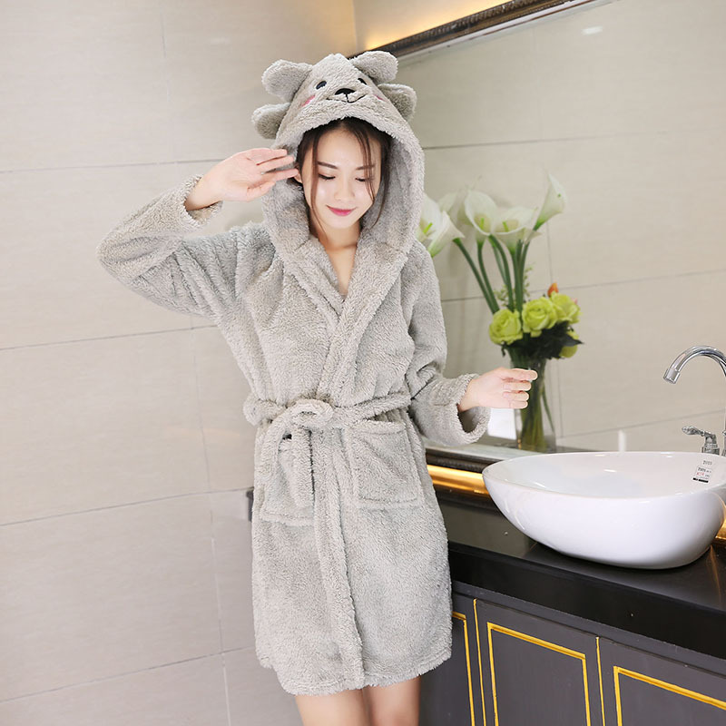Women's Robes Couples Pajamas Women's Autumn & Winter Thick Flannel Long Morning Gowns Bathrobe Men's Coral Velvet Spring And Au