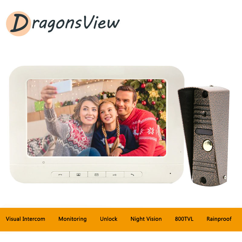 DragonsviewVideo Doorbell Home Intercom Wired Video Door Phone Intercom System Day Night Vision IP65 Waterproof Outdoor Camera