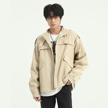 Male Retro Fashion Spring Autumn Streetwear Hip Hop Loose Coat Outerwear Men Stand Collar Casual Jacket Overcoat