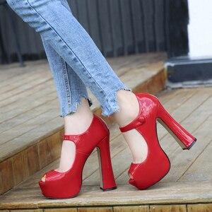 Image 1 - Maiernisi bombas sapatos femininos boca de peixe plataforma bomba sólida salto alto 14cm sapatos bombas sexy rasas único senhoras sapatos