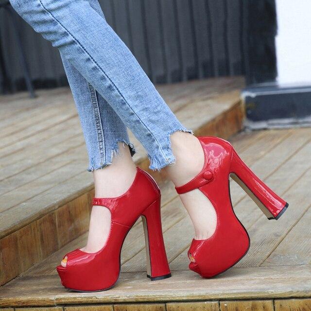 Maiernisi bombas sapatos femininos boca de peixe plataforma bomba sólida salto alto 14cm sapatos bombas sexy rasas único senhoras sapatos