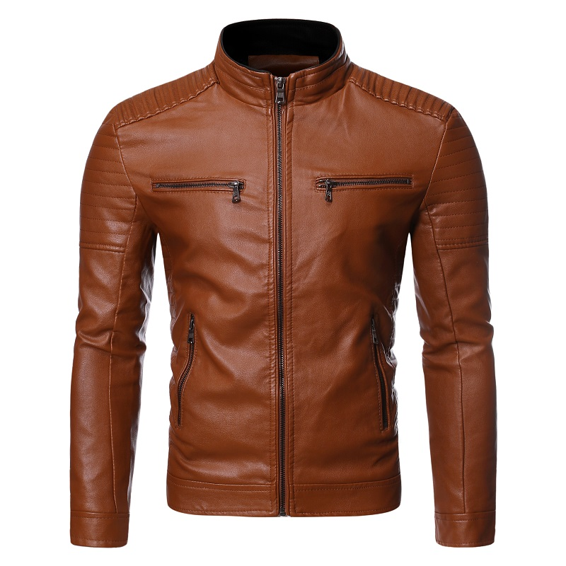 Leather Jacket  2019 Autumn Winter New Men's Fashion Trend Zipper Decoration Slim Fit Motorcycle Leather Jacket