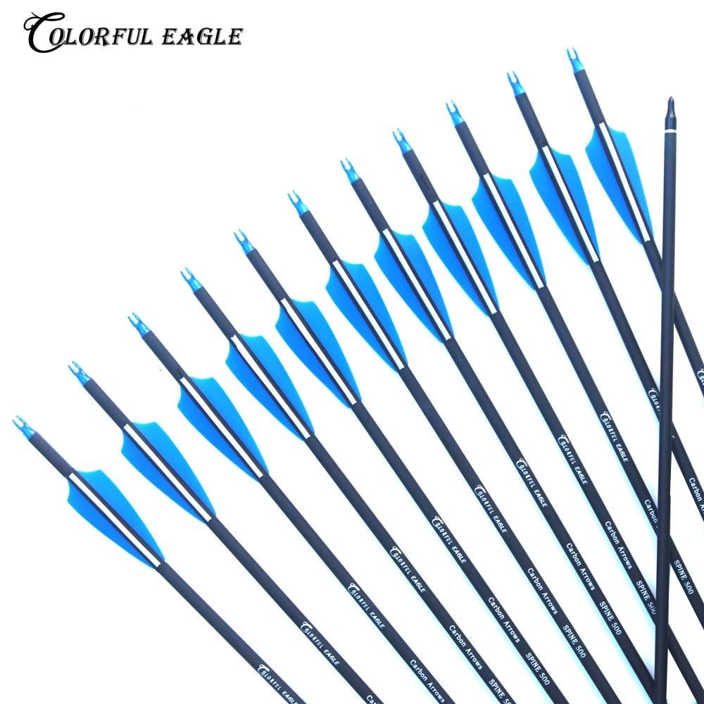 "6//12//24Pcs 31/""Mixed Carbon Arrow 500Spine Replacable Tip Archery Arrow Bow Hunt"