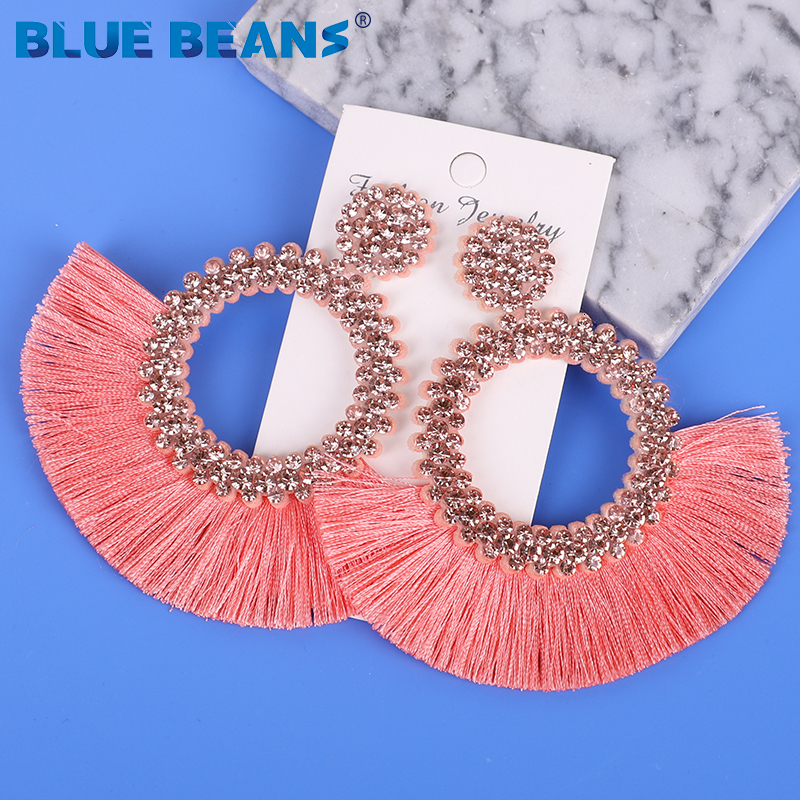 H950134ec37374bdb983c94ba1f0c516d8 - Tassel Earrings Women Punk Earings Fashion Jewelry Hanging Crystal Star Girls Earring Drop Dangle Long Boho Set  Luxury Handmade