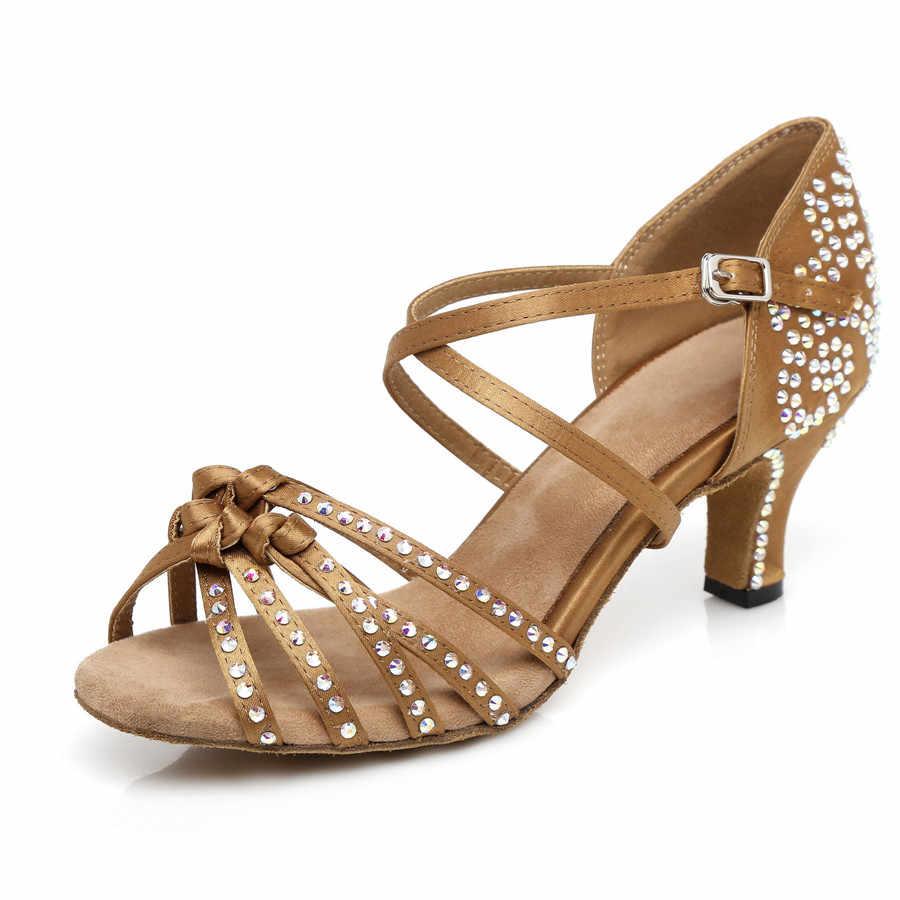 Frauen Ballsaal Latin Dance Schuhe Bronze Dunkelbraun Salsa Tango Bachata Kizomba Sozialen Schuhe Hohe ferse 6/7. 5/8. 5/10cm Wildleder Sohle