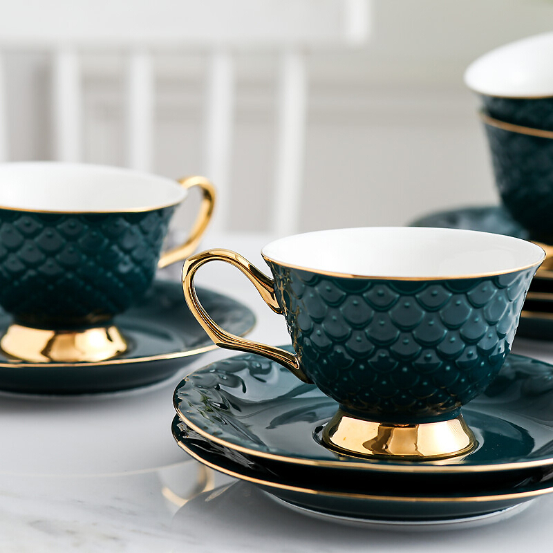 300 ml Luxury green Fish scale surface ceramic tea <font><b>coffee</b></font> <font><b>cups</b></font> with saucers for gift image