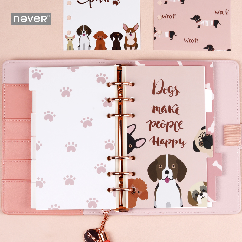 6 Pcs/set Puppy Series Dividers Paper Indexes Personal A6 Spiral Notebook 6 Rings Binder Planner Separator Pages Organizer