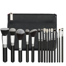 15 Wooden handle Makeup Brushes Natural hair Makeup brush set with Bag Foundation Powder Brush Eyeshadow Brushes Travel Makeup