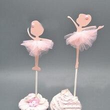 4 ชิ้น/แพ็คเค้ก Toppers Cupcake Topper Glitter สาวเต้นรำ Ballerina Cupcake Toppers เค้ก Picks งานแต่งงานตกแต่ง