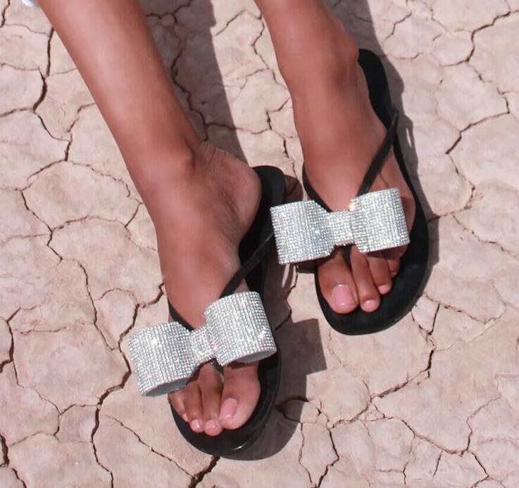 Strass bowtie feminino chinelo sapato 2020 verão