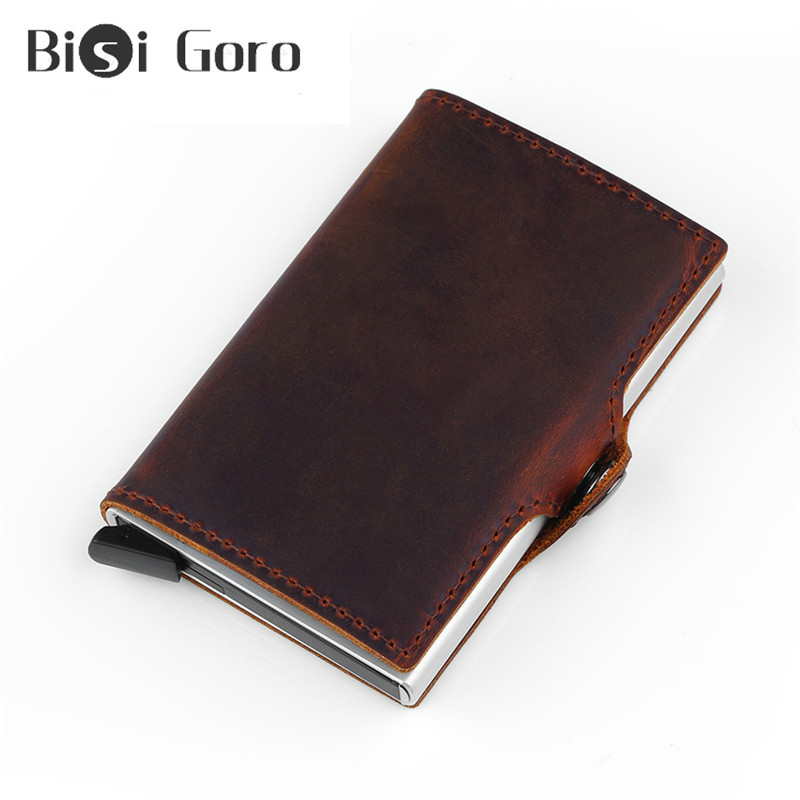 BISI GORO Vintage Genuine Leather Men Smart Wallet Business Card Wallet Metal Rfid Blocking Mini Slim Wallet Mini Travel Purse