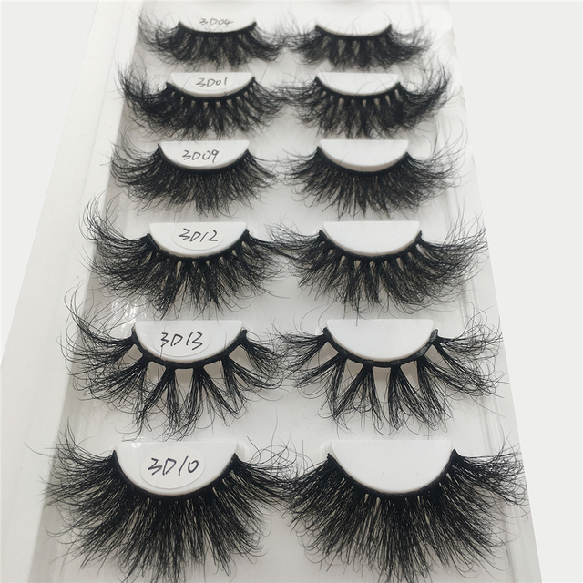 RED SIREN Mink Eyelashes 25mm Lashes Fluffy Messy 3D False Eyelashes Dramatic Long Natural Lashes Wholesale Makeup Mink Lashes 4