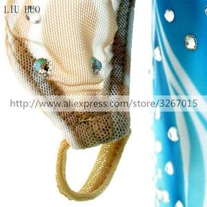 Image 5 - สเก็ตผู้หญิงs สเก็ตน้ำแข็งสีฟ้า/สีขาวยืดการแข่งขันสเก็ตสวมใส่คลาสสิกแขนยาว Ice