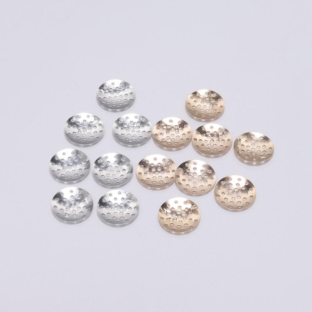 50pcs Brooch Base Brooches Bouquet Beading Back Holes Pad Cabochon Bezel Round Blank Tray Setting Beads For DIY Jewelry Making