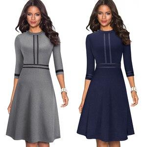 Image 3 - Платье Nice forever A135 женское винтажное с круглым воротником