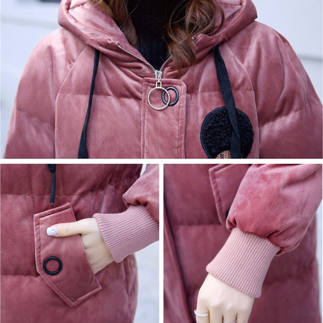 2019 Gold velvet winter parka women thicken warm cotton jacket hooded coat plus size female embroidery Cotton-padded jacket 6