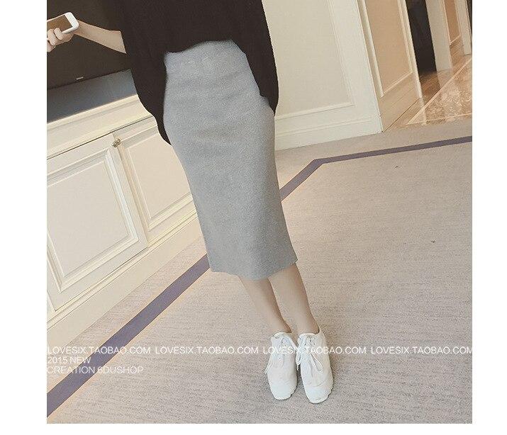 2016 Spring Autumn And Winter Slit Skirt One-step Skirt Elasticity Slim Fit Slimming WOMEN'S Skirt High-waisted Medium-length Dr