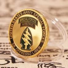 Exército dos eua força especial aerotransportada ouro chapeado moeda comemorativa desafio militar colecionáveis fã do exército presentes