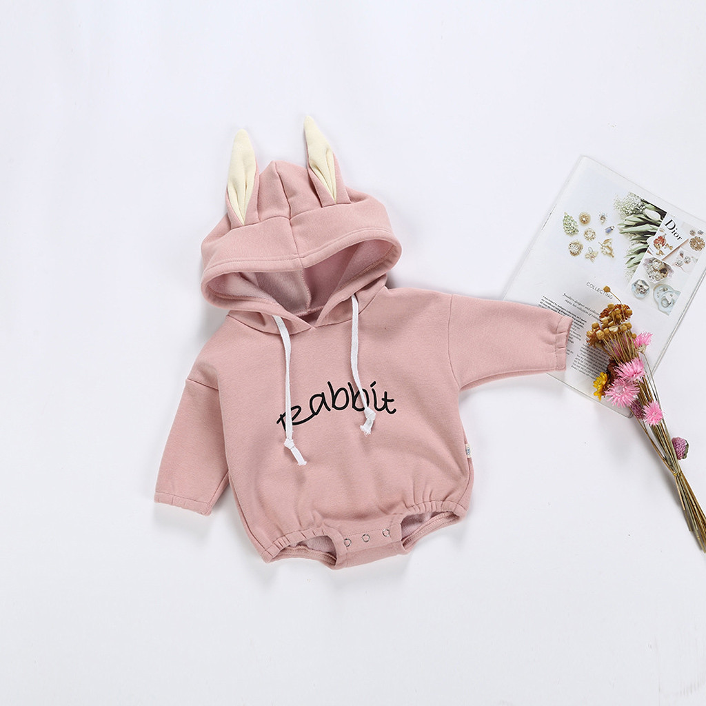 Todder Kid Baby Girl Boy Rabbit Letter Sweatshirt Tops Romper Pullover Baby Clothes Long Sleeve Infant Rompers Cotton Newborn