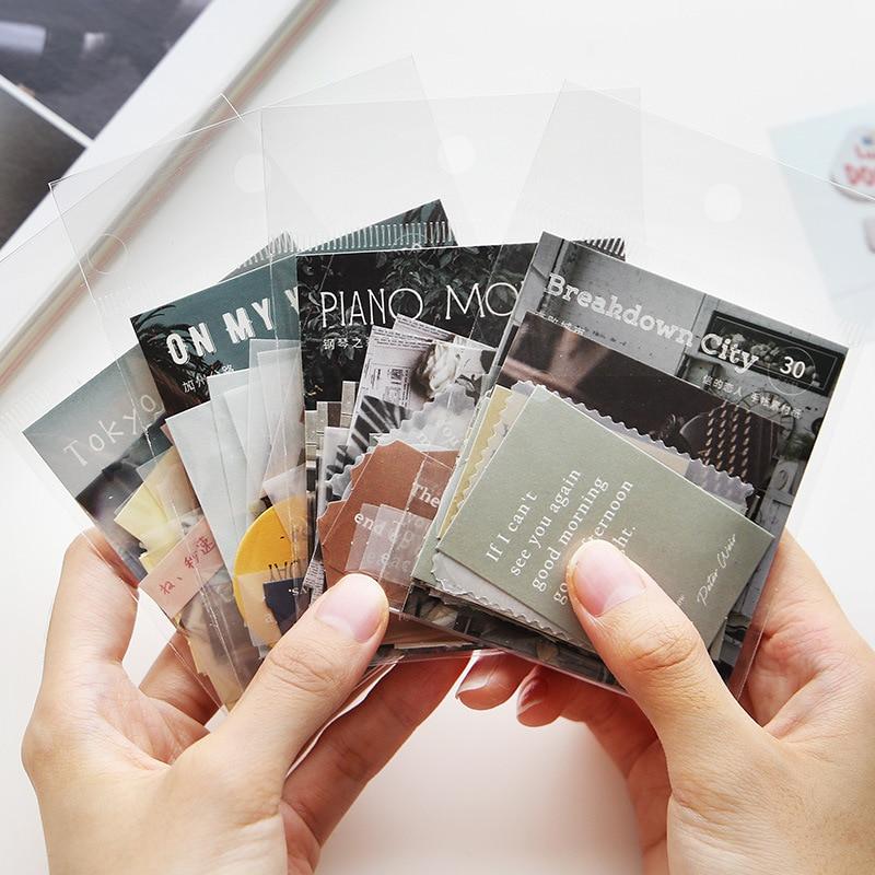30pcs Retro Traveler Notes Series Bullet Journal Decorative Translucent Stickers Scrapbooking Stick DIY Label Diary Stationery