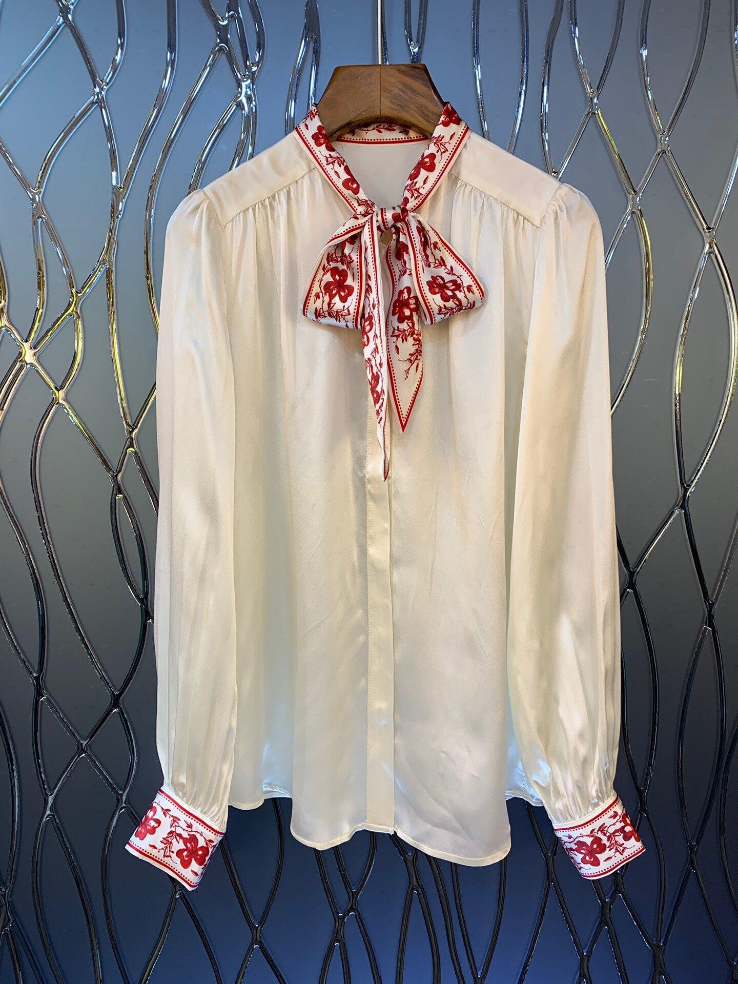 2019 nueva camisa de seda de manga larga con cuello de lazo y estampado Vintage elegante envío gratis a todo el mundo