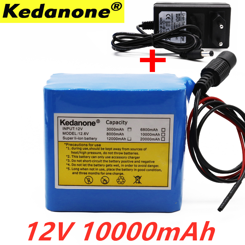 Kedanone <font><b>12V</b></font> <font><b>Battery</b></font> 3S4P 11.1V/12.6V 10Ah 18650 Lithium Ion <font><b>Battery</b></font> Pack with 25A Balanced BMS for LED Lamp Light Backup Power image