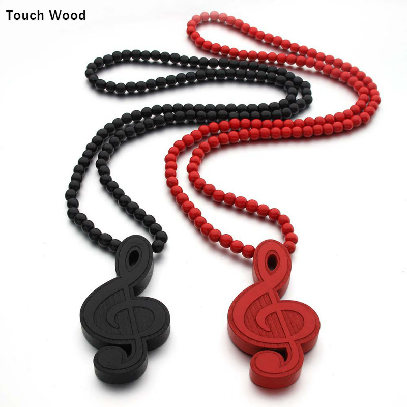 Wooden Pendant Musical Notes Street Dance Necklace Hip Hop Jewelry