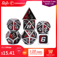 Chengshuo Metal Dice Table-Games Dungeons Rpg Dnd Polyhedral Dragon Digital Green 7pcs