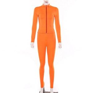 Image 5 - Hugcitar 2019 긴 소매 지퍼 업 bodycon 탑스 레깅스 2 2 개 세트 가을 겨울 여성 패션 streetwear 핑크 티셔츠 tra