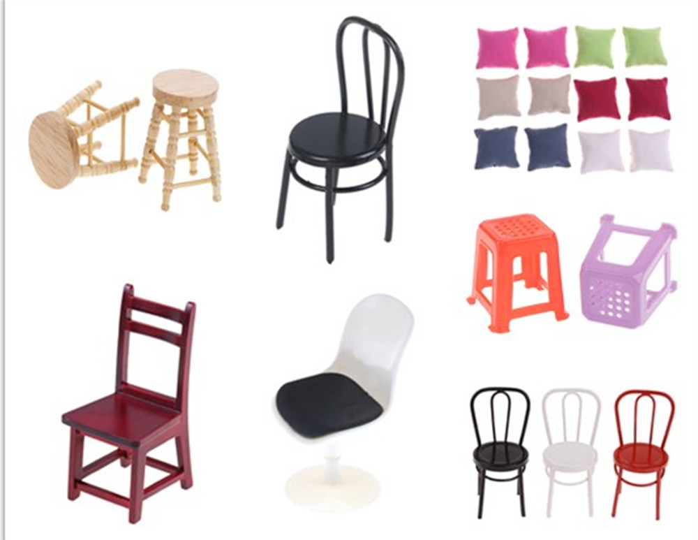 1/2Pcs/lot  Wooden Chair Seat Hot Selling Newest Pillow Cushions For Sofa Couch Bed For Doll House 1/12 Dollhouse Furniture Toys