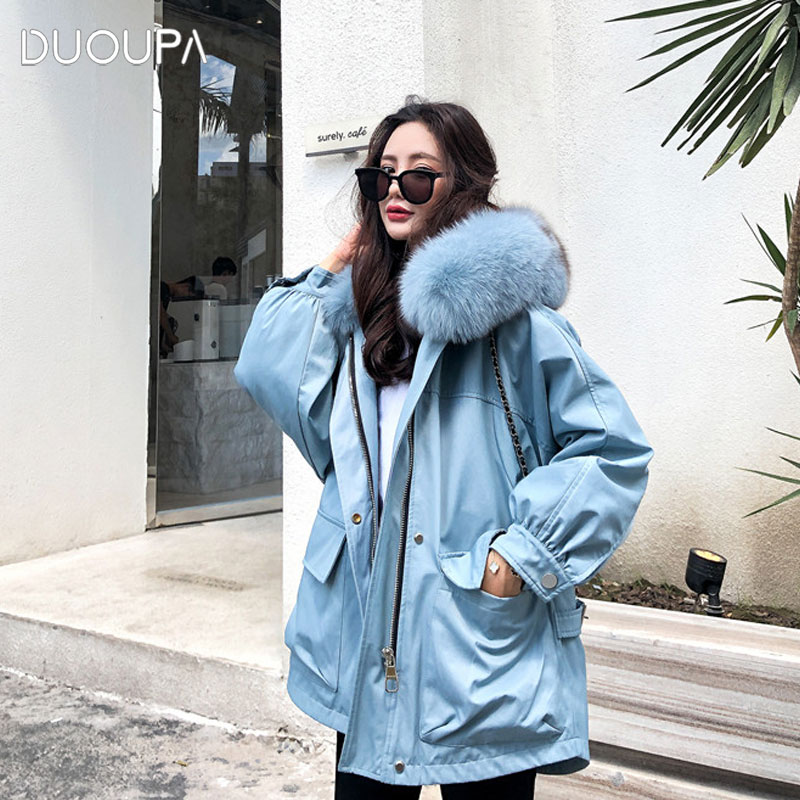 2019 Winter New Style to Overcome the Jacket Female Long Section Rex Rabbit Fur Grass Liner Detachable Fox Fur Collar Coat Warm image