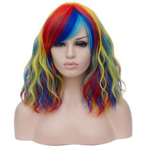 Image 3 - MSIWIGS Black and White Cosplay Wigs for Women Wavy Short Synthetic Wig Purple Rainbow Heat Resistant